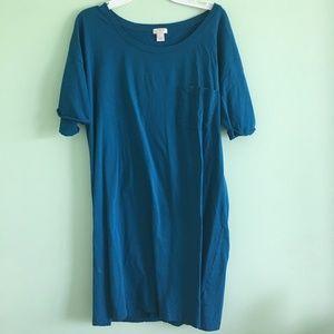 blue long t-shirt dress